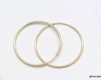14K Gold Hoop Earrings, Medium Large hoop Earrings, Gold Hoops, Simple Earrings, Hoop Earrings, Thin Circle earrings, minimal earrings