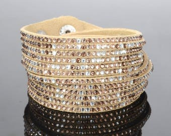 x 1 light brown patterned cuff rhinestone 40 cm leather bracelet