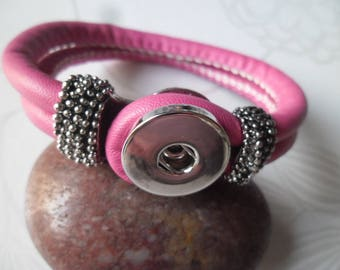 x 1 bracelet leather pink snap 21 cm