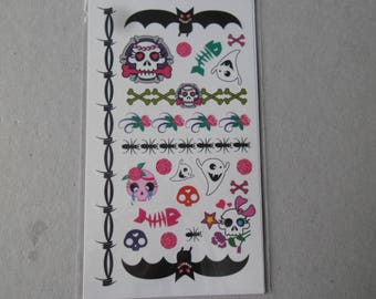 x 1 card of children themed Halloween multicolor tattoos