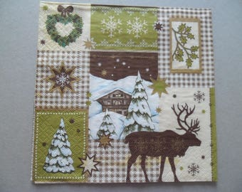 x 1 paper napkin-themed Christmas patterned 33 x 33 cm