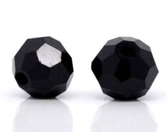 x 20 round beads Crystal quartz glass faceted 4 mm black