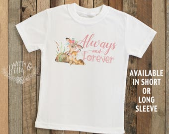 Always and Forever Mom and Little Deer Kids Shirt, Boho Kids Shirt, Cute Kids Shirt, Cute Kids Tee, Rustic Girl Shirt - T169A
