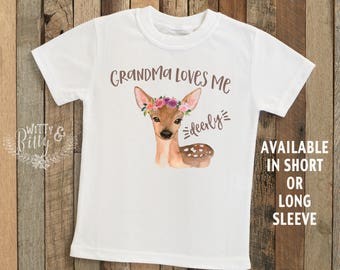 Grandma Loves Me Deerly Personalized Kids Shirt, Gift from Nana, Gift for Grandchild, Customized Kids Shirt, Boho Kids Shirt - T244G