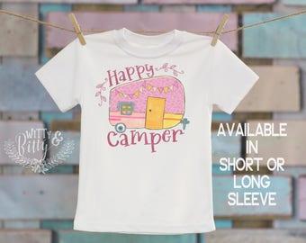 Happy Camper Trailer Kids Shirt, Rustic Kids Shirt, Hipster Kids Shirt, Woodland Style Kids Shirt, Cute Kids Tee, Boho Kids Shirt - T350H