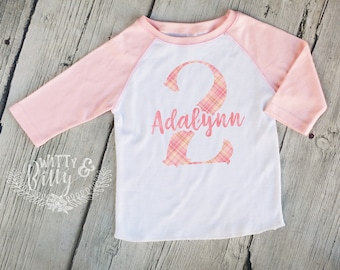 Second Birthday Pink Plaid Personalized Kids Raglan Shirt, Girls Birthday Shirt, Girls Baseball Tee, Boho Kids Shirt, Girl Name Tee - R427A