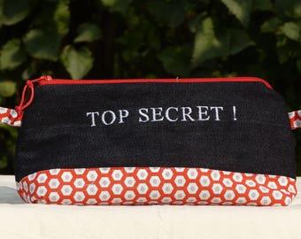 """Black denim clutch, embroidered fancy lined """"TOP SECRET!"""""""