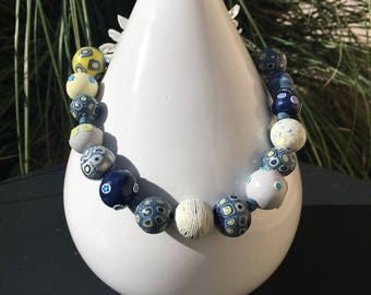 Blue and yellow necklace model Corfu