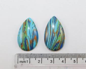 Rainbow Calsilica Cabochon, Wholesale Calsilica Gemstone, Pear Rainbow Calsilica, Rainbow Calsilica Gemstone, Loose Gemstone-2pcs