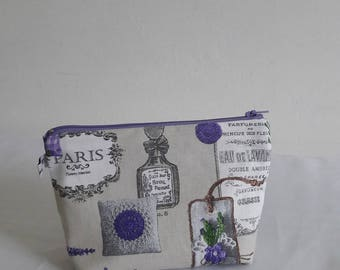 Makeup zippered cotton Provence and lavender, ecru cotton inside