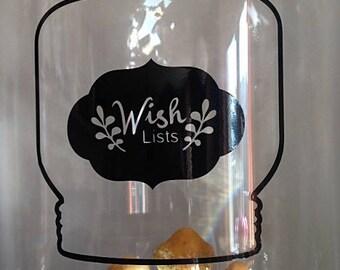 "Sticker little jar ""Wish lists"""