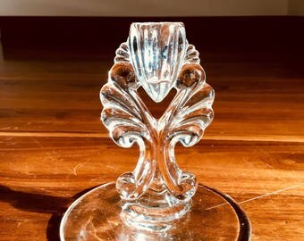 Glass Candlestick in Art Deco Style (New Martinsville Glass, Janice Pattern)