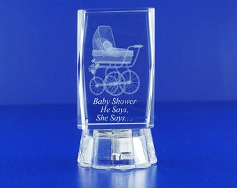 Baby showers Ideas 12 PCS Personalized Custom Laser Etched Engraving 3D Carriage Crystal Cube 081L