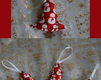 Fabric Christmas ornaments: snowman tree