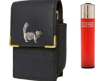 Cat cigarette packet holder with Clipper gas lighter