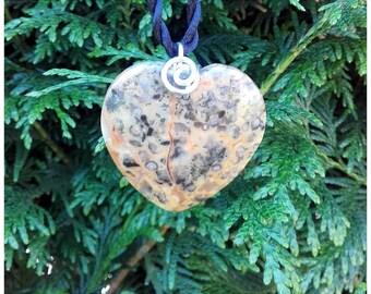 Pendant heart stone agate crazy lace