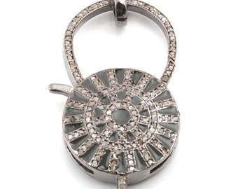 DIAMOND Pave Clasp, Pave Clasp, Diamond Jewelry, Pave Diamond CLASP, 925 Sterling Silver Diamond Pave Clasp, ANTIQUE Diamond Clasp Jewelry
