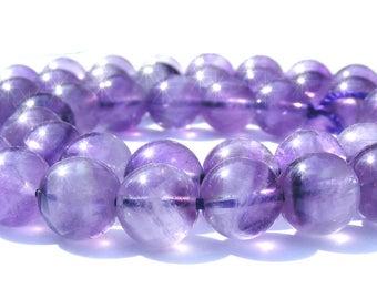 6 amétyhystes de 8 mm perles pierre violette claire.