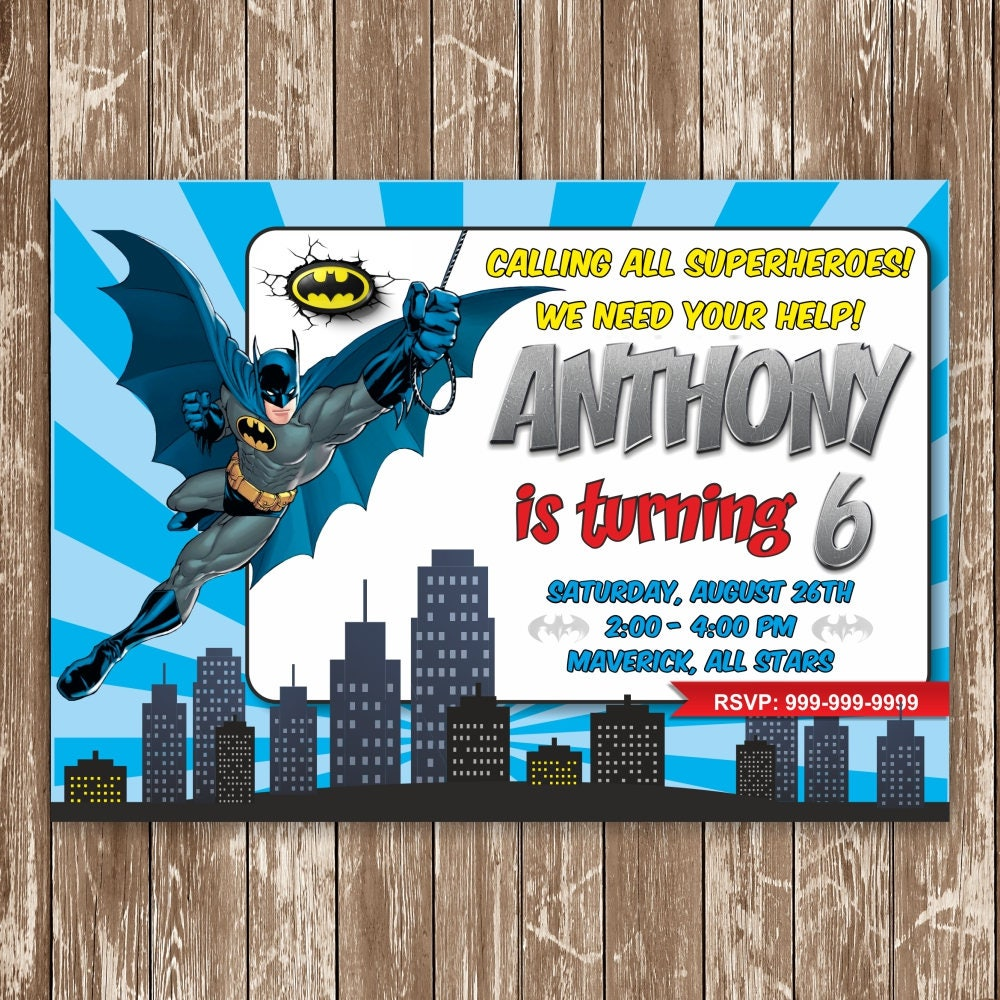 Batman Invitation, Batman Birthday Invitation, Batman, Batman Card ...