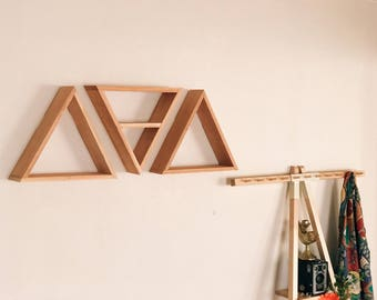 Set of 3 Triangle Shelves w/ One Middle Shelf (Reclaimed Wood)