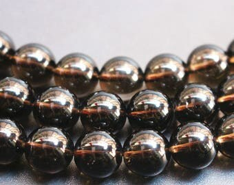 Natural Smoky Quartz Smooth And Round Beads 6mm 8mm 10mm Loose Beads,15 inch per strand.