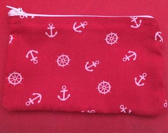 Anchor print coin purse /gum shield bag
