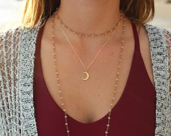 Pink Beaded Layering Necklace, Bronze, For Women