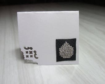 "Mini Card embroidered place ""Silver Christmas ball"" brand"