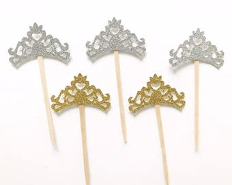 PRINCESS CROWN - glitter cupcake toppers- Gender Reveal- Baby Shower- Boy or Girl - birthday -Princess - princess crown cupcake topper 12 ct