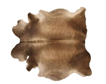 """Superior European Natural Cowhide Rug, Hair-On-Hide Genuine Bovine Leather, Hand Tanned in Europe, Superior Quality,  6'7"""" x 6'7"""""""