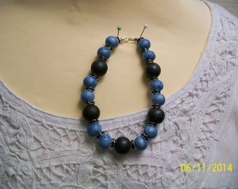Bracelet Blue Pearl and black polymer clay