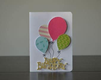 Happy, Birthday Card with, Balloons