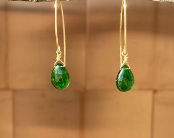 Green chrome diopside gemstone drop, large and smooth, on 14k gold filled  arc