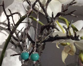 Earrings in silver and amazonite bead
