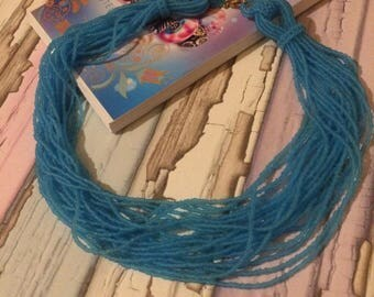 Blue seed bead necklace