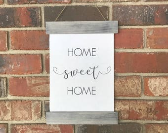 HOME SWEET SOME | farmhouse hanging sign | canvas sign |