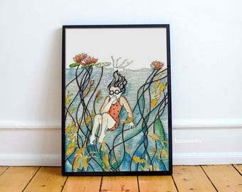 Sunday Afternoon, an original watercolor illustration by Namita Singh on high quality Giclee print