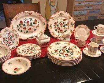 Vintage (circa 1980's) Jamestown China- The Joy of Christmas pattern, 6 place setting and Hostess Set