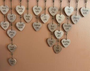 Birthday Plaque Tags - Hearts