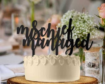 Mischief Managed Typography Wedding Cake Topper