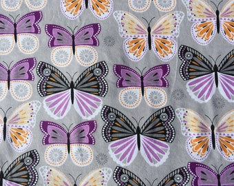 Purple Butterflies Flannel, Orange Butterfly Fabric, Sold by the Yard, 100% Cotton Flannel