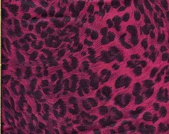 Leopard print silky fabric, Fucshia and black medium print. Light weight for summer. Skirt, Blouse, Home decor.Fun!