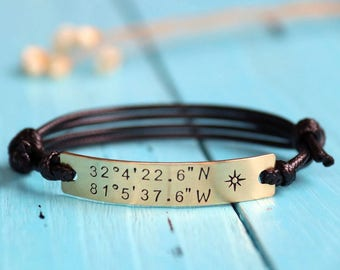 Personalized coordinates bracelet, customized coordinates bracelet, latitude longitude bracelet, Valentine's Day anniversary gift bracelet