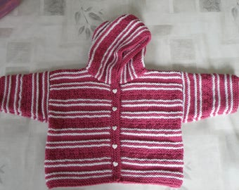 Overcoat or 9 months baby jacket knitted by hands.