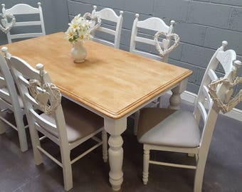 Absolute Stunning Bespoke Shabby Chic 6ft x 3ft Farmhouse Table Set