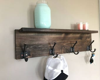 Grant II Entryway Wood Coat Rack- 4 Hook   Wall Coat Hanger