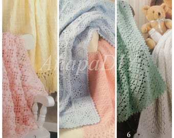 PDF 3 Crochet/3 Knit Rock Me Gently Baby Afghans