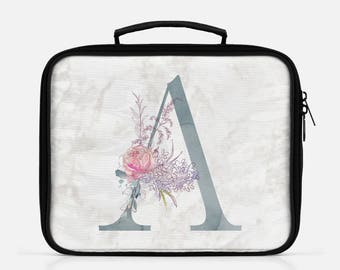 Floral Marble Monogram Lunch Box Lunch Bag Lunchbox Personalized Lunch Monogram Lunch Box Custom Name Lunch Marble Print Lunch Zipper Lunch