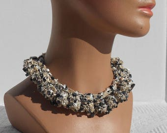 Hand knitted necklace, choker style, with black beads