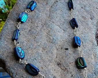 Abalone Shell and Silver-Plated Wirework Necklace, Matching Earrings Included